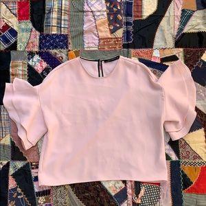 ZARA WOMAN Pink Ruffle Sleeve Oversized Blouse